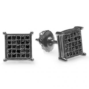 0.15 Carat (ctw) 14K Black Rhodium Plated White Gold Round Diamond Micro Pave Square Shape Hip Hop Iced Stud Earrings