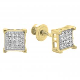 0.10 Carat (ctw) 18K Yellow Gold Plated Sterling Silver Round Diamond Square Shape Mens Stud Earrings