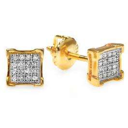0.10 Carat (ctw) 14K Yellow Gold Round Diamond V-Prong Square Mens Hip Hop Iced Stud Earrings 1/10 CT