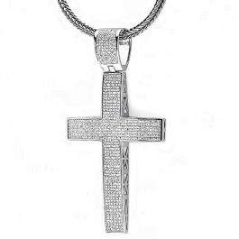 3.50 Carat (ctw) Sterling Silver White Diamond Micro Pave Mens Hip Hop Style Religious Cross Pendant Necklace FREE CHAIN