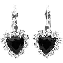 Platinum Plated Black Heart Shape with White Round CZ Cubic Zirconia Ladies Dangling Earrings (12 mm Width x 25 mm Length)
