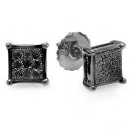 0.10 Carat (ctw) Black Plated Sterling Silver Round Black Diamond Square Shape Mens Hip Hop Iced Stud Earrings