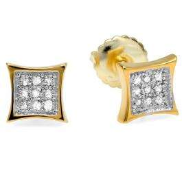 0.10 Carat (ctw) 10K Yellow Gold Round Diamond 5.5mm Kite Shape Mens Hip Hop Iced Stud Earrings 1/10 CT