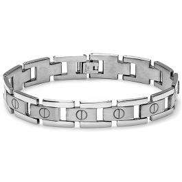 Stainless Steel Link Polished and Satin Mens Bracelet 8 inch 10 mm