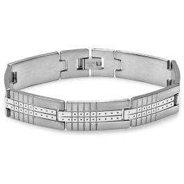 Stainless Steel Link Polished and Satin Mens Bracelet 8 inch 12.5 mm