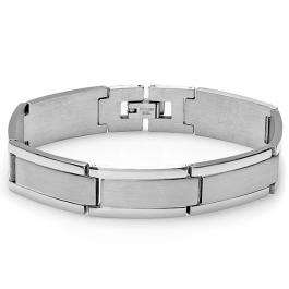 Stainless Steel Link Polished and Satin Mens Bracelet 8 inch 14 mm