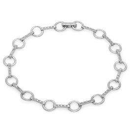 0.01 Carat (ctw) Sterling Silver Round White Diamond Ladies Link Bracelet