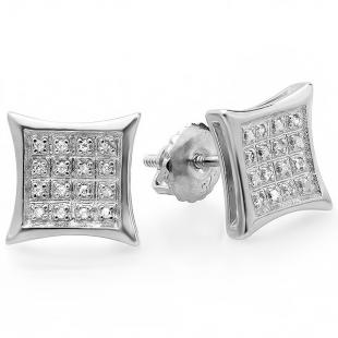 0.15 Carat (ctw) 14K White Gold Real Diamond Concave Kite Shape Mens Ladies Hip Hop Iced 10 mm Stud Earrings