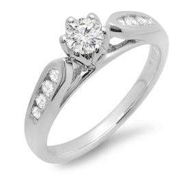 0.50 Carat (ctw) 14k White Gold Round Diamond Ladies Solitaire with Accents Bridal Engagement Ring