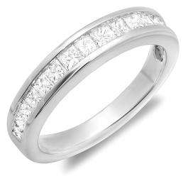 0.75 Carat (ctw) 14K White Gold Princess White Diamond Anniversary Wedding Stackable Ring Band