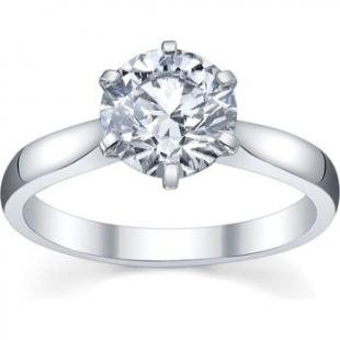 Platinum Ladies Solitaire Semi Mount Engagement Ring (No Center Stone)