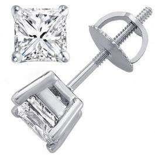 0.67 Carat (ctw) 14K White Gold Princess Cut White Diamond Ladies Stud Earrings