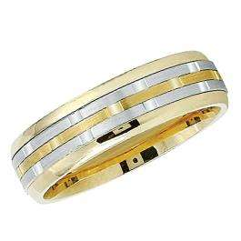 14k Yellow Gold Men's Ladies Unisex Ring Fancy Wedding Band 6MM Flat Shiny Polished Traditional Fit (Available in Sizes 4 to 12)