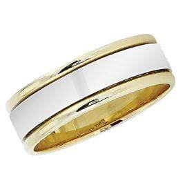 14k Yellow Gold Men's Ladies Unisex Ring Fancy Wedding Band 7MM Flat Shiny Polished Traditional Fit (Available in Sizes 4 to 12)