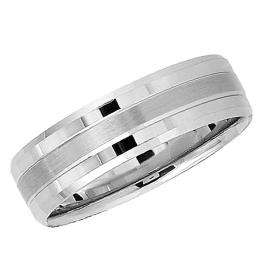 14k White Gold Men's Ladies Unisex Ring Fancy Wedding Band 6.5MM Flat Brushed and Polished Comfort Fit (Available in Sizes 4 to 12)