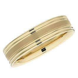 14k Yellow Gold Men's Ladies Unisex Ring Fancy Wedding Band 5.5MM Flat Grooved & Polished Shiny Comfort Fit (Available in Sizes 4 to 12)