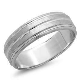 14k White Gold Men's Ladies Unisex Ring Fancy Wedding Band 6.5MM Beveled Edges Grooved Brushed & Polished Comfort Fit (Available in Sizes 4 to 12)