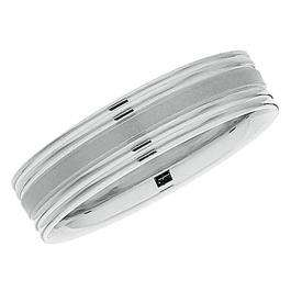 14k White Gold Men's Ladies Unisex Ring Fancy Wedding Band 5.5MM Flat Grooved & Polished Shiny Comfort Fit (Available in Sizes 4 to 12)