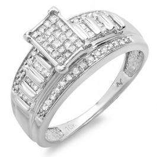0.50 Carat (ctw) 10K White Gold Invisible Set Princess Round & Baguette Diamond Ladies Bridal Engagement Ring