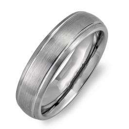 Cobalt Men's Dome Wedding Band 8MM Brushed Finish in Center and Polished Shiny Comfort Fit (Available in Sizes 7 to 12)