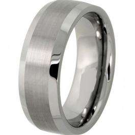 Cobalt Men's Ring Wedding Band 8MM Bushed Finish in Center and Polished Shiny Comfort Fit (Available in Sizes 7 to 12)