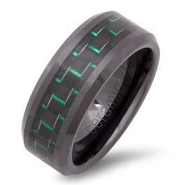 Black Ceramic Men's Ladies Unisex Ring Wedding Band 8MM Flat Polished Shiny Beveled Edge Green Carbon Fiber Inlay Comfort Fit (Available in Sizes 8 to 12)