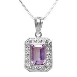 0.75 CT Real Genuine Purple Amethyst 925 Sterling Silver Solitaire Emerald Shape 0.70 Inch Pendant