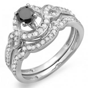 0.75 Carat (ctw) 14k White Gold Round Black And White Diamond Ladies Swirl Bridal Halo Engagement Ring Matching Band Set 3/4 CT