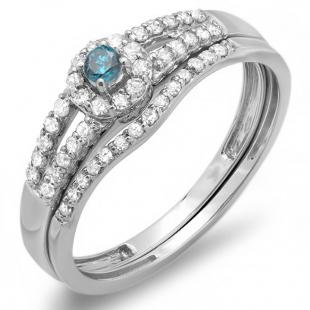 0.40 Carat (ctw) 14k White Gold Round Blue And White Diamond Ladies Split Shank Halo Style Bridal Engagement Ring Matching Band Set