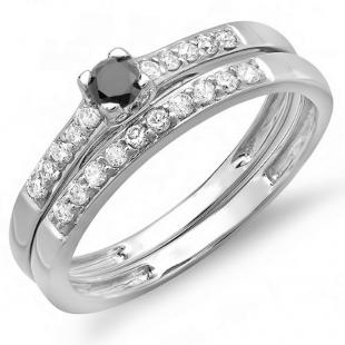 0.40 Carat (ctw) 18k White Gold Round Black And White Diamond Ladies Bridal Engagement Ring Matching Band Wedding Set