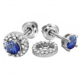 1.10 Carat (ctw) 14k White Gold Round Blue Sapphire & White Diamond Ladies Halo Stud Earrings With Removable Jackets 1 1/10 CT