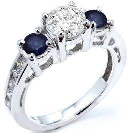 2.55 Carat (ctw) 18k White Gold Round Blue Sapphire And White Diamond Ladies Bridal Engagement Ring
