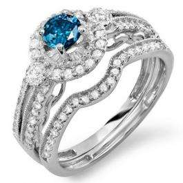 1.60 Carat (ctw) 14k White Gold Round Blue & White Diamond Ladies Halo Bridal Engagement Ring With 2 Matching Band 1.00 CT Center included