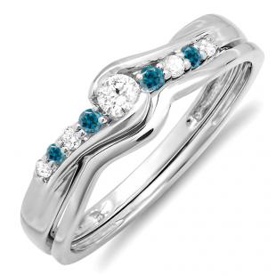 0.25 Carat (ctw) 10k White Gold Round Blue & White Diamond Ladies Bridal Promise Engagement Wedding Set Ring with Matching Band 1/4 CT