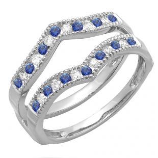 0.45 Carat (ctw) 10k White Gold Round White Diamond & Blue Sapphire Ladies Millgrain Anniversary Wedding Band Guard Double Ring 1/2 CT