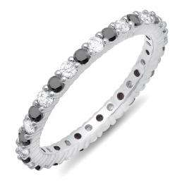 1.00 Carat (ctw) 10k White Gold Round Black & White Diamond Ladies Eternity Anniversary Stackable Ring Wedding Band 1 CT