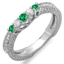 0.45 Carat (ctw) 10k White Gold Round Green Emerald And White Diamond Ladies Anniversary Wedding Band Guard Enhancer Ring 1/2 CT