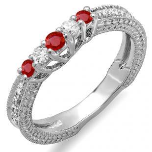 0.45 Carat (ctw) 10k White Gold Round Ruby And White Diamond Ladies Anniversary Wedding Band Guard Enhancer Ring 1/2 CT