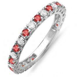 1.00 Carat (ctw) 10K White Gold Round Ruby And White Diamond Eternity Sizeable Stackable Ring Anniversary Wedding Band 1 CT
