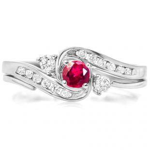 0.50 Carat (ctw) 18k White Gold Round Ruby And White Diamond Ladies Swirl Bridal Engagement Ring Matching Band Set 1/2 CT