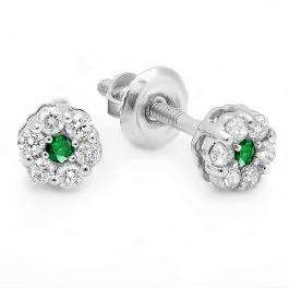 0.20 Carat (ctw) 14k White Gold Round White Diamond & Green Emerald Ladies Cluster Flower Earrings 1/5 CT