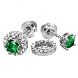 1.10 Carat (ctw) 14k White Gold Round Green Emerald & White Diamond Ladies Halo Stud Earrings With Removable Jackets 1 1/10 CT