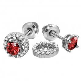 1.10 Carat (ctw) 14k White Gold Round Ruby & White Diamond Ladies Halo Stud Earrings With Removable Jackets 1 1/10 CT