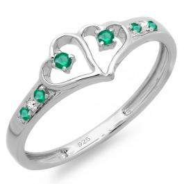 0.15 Carat (ctw) Sterling Silver Round White Diamond And Green Emerald Ladies Promise Double Heart Love Engagement Ring