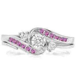 0.50 Carat (ctw) 10k White Gold Round Pink Sapphire & White Diamond Ladies Swirl Bridal Engagement Ring With Matching Band Set 1/2 CT
