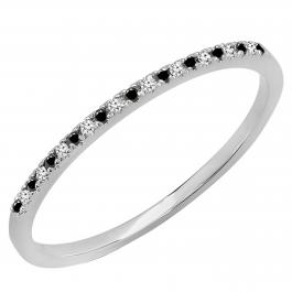 0.08 Carat (ctw) 10k White Gold Round Black & White Diamond Ladies Dainty Anniversary Wedding Band Stackable Ring