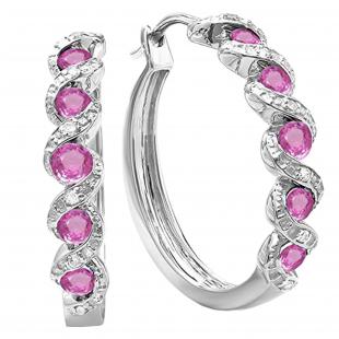0.86 Carat (ctw) Sterling Silver Round White Diamond & Pink Sapphire Ladies Hoop Earrings