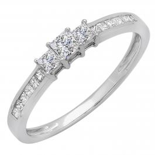 0.65 Carat (ctw) Sterling Silver Princess Cut Cubic Zirconia CZ Ladies Bridal 3 Stone Engagement Ring