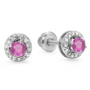 0.45 Carat (ctw) 14K White Gold Round Pink Sapphire & White Diamond Ladies Halo Style Stud Earrings 1/2 CT