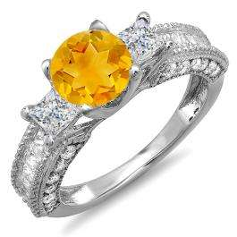 3.15 Carat (ctw) 14k White Gold Round Yellow Citrine & Princess White Diamond Ladies 3 Stone Engagement Bridal Ring